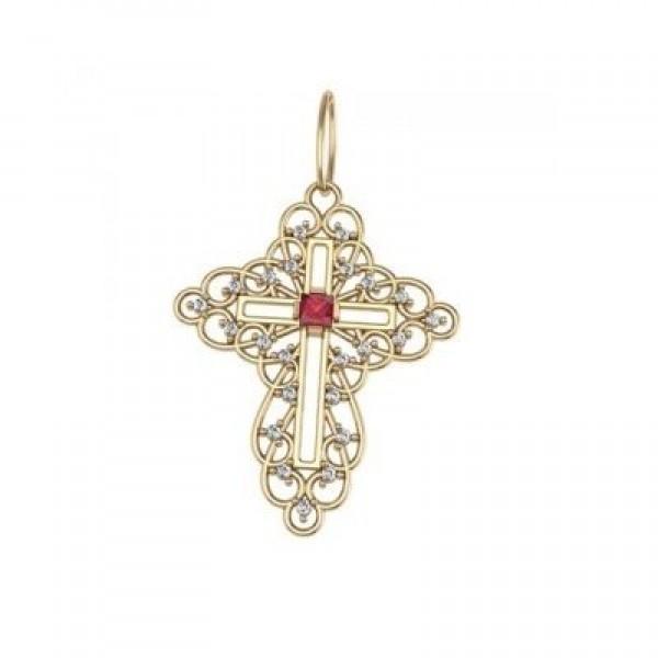 Крест из желтого золота с рубином и бриллиантами