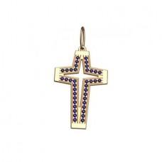Крест из желтого золота с сапфирами..
