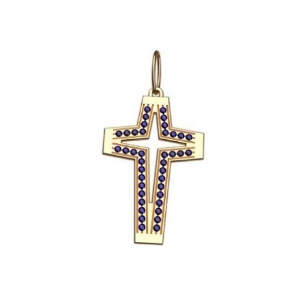 Крест из желтого золота с сапфирами