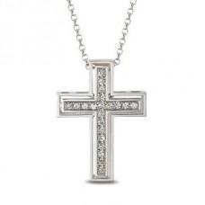Крест католический из белого золота с бриллиантами..
