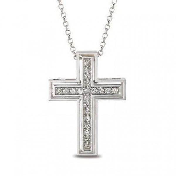 Крест католический из белого золота с бриллиантами