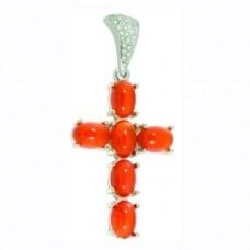 Крест Католический из белого золота с кораллами и бриллиантами..