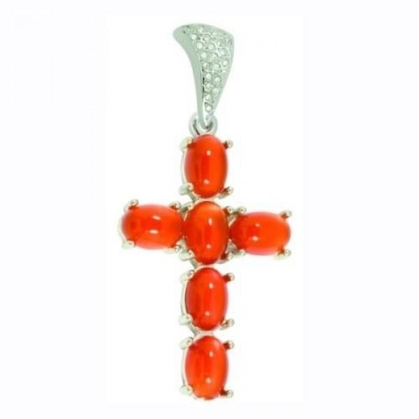 Крест Католический из белого золота с кораллами и бриллиантами