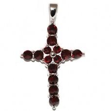 Крест Католический из белого золота с рубинами..