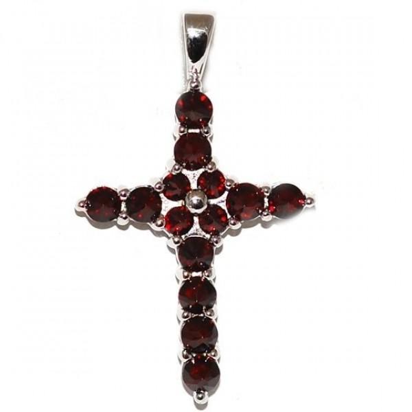 Крест Католический из белого золота с рубинами