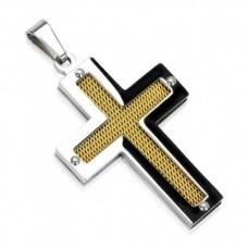 Крест Католический из комбинированного золота..