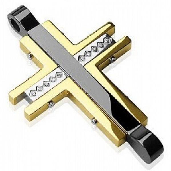 Крест Католический из комбинированного золота с бриллиантами