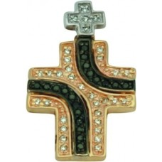 Крест Католический из комбинированного золота с бриллиантами..