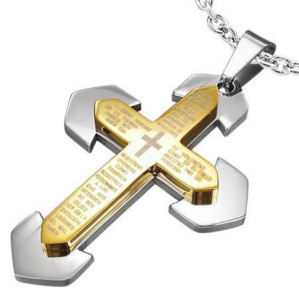 Крест Католический из комбинированного золота с молитвой