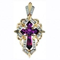Крест Католический из комбинированного золота с рубином и бриллиантами..