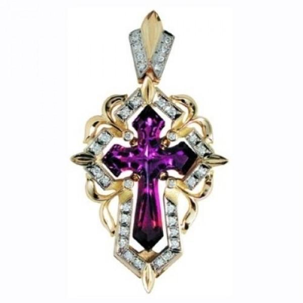 Крест Католический из комбинированного золота с рубином и бриллиантами
