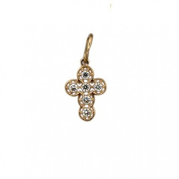 Крест Католический из красного золота