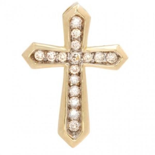 Крест Католический из красного золота с бриллиантами