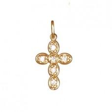 Крест Католический из красного золота с бриллиантами..