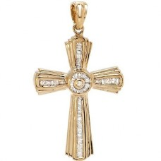 Крест Католический из красного золота с бриллиантами и алмазами..