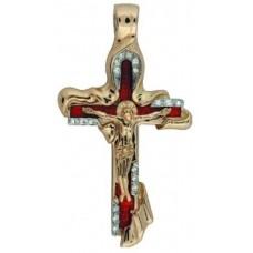 Крест Католический из красного золота с бриллиантами и эмалью..