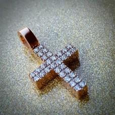 Крест Католический из розового золота с бриллиантами..