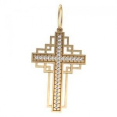 Крест католический из желтого золота с бриллиантами..