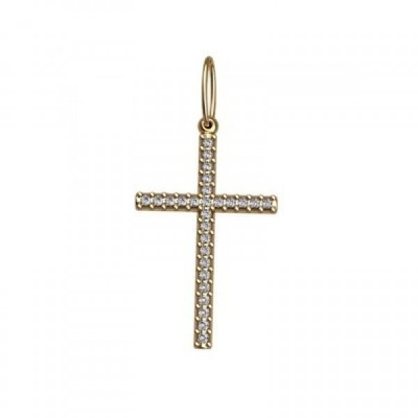 Крест католический из желтого золота с бриллиантами