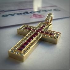 Крест Католический из желтого золота с рубинами и бриллиантами..