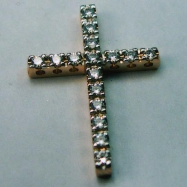 Крест Католический нательный из белого золота с бриллиантами