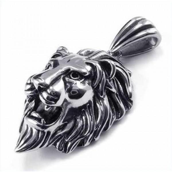 Кулон 'Голова льва' из белого золота