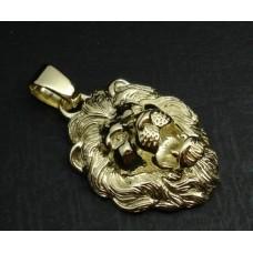 Кулон 'Голова льва' из желтого золота..