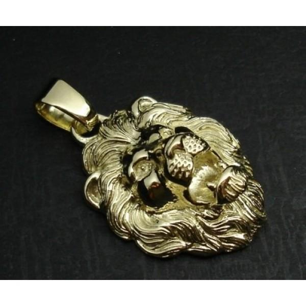Кулон 'Голова льва' из желтого золота