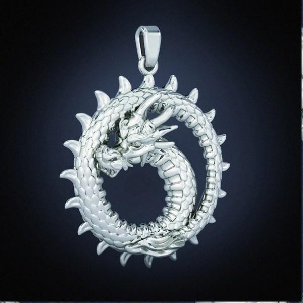 Кулон из белого золота 'Дракон'
