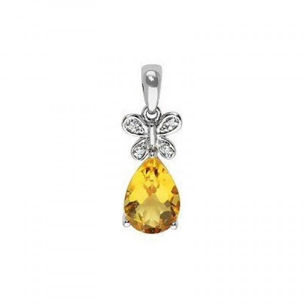 Кулон из белого золота с бриллиантами и цитрином