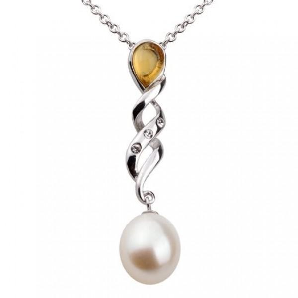 Кулон из белого золота с бриллиантами, жемчугом и цитрином