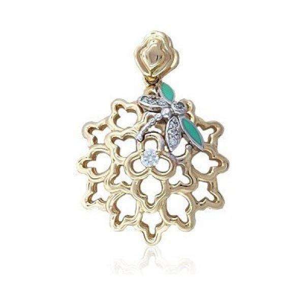 Кулон из комбинированного золота с бриллиантами и эмалью