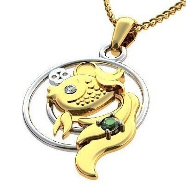 Кулон из комбинированного золота с бриллиантом и изумрудом 'Золотая рыбка'