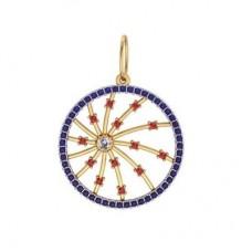 Кулон из комбинированного золота с бриллиантом и сапфирами и рубинами..
