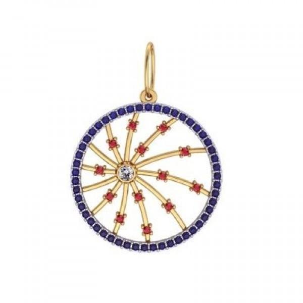 Кулон из комбинированного золота с бриллиантом и сапфирами и рубинами
