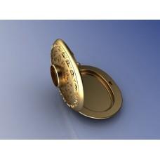 Кулон из комбинированного золота с гранатом и бриллиантами..