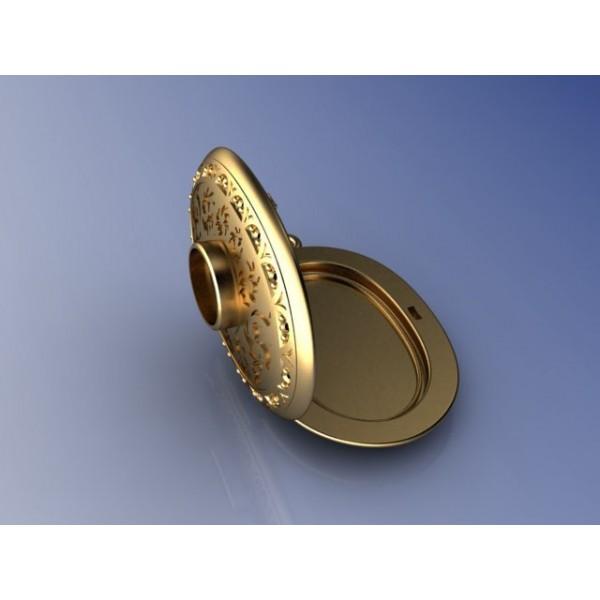 Кулон из комбинированного золота с гранатом и бриллиантами