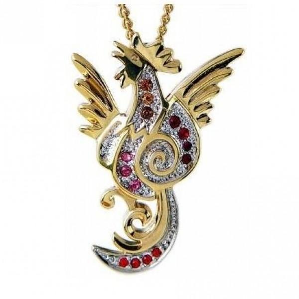 Кулон из комбинированного золота с рубинами и фианитами