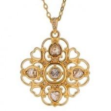 Кулон из красного золота с бриллиантами и алмазами..