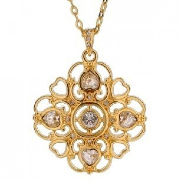 Кулон из красного золота с бриллиантами и алмазами