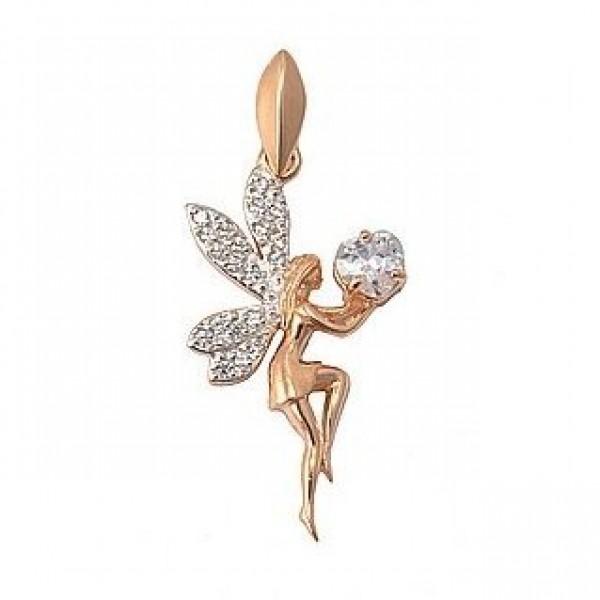 Кулон из красного золота с бриллиантами и алмазом
