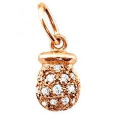 Кулон из красного золота с бриллиантом..