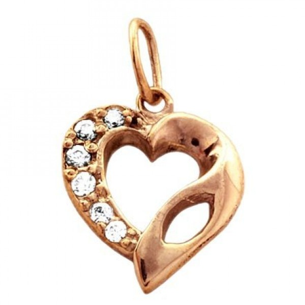 Кулон из красного золота с бриллиантом