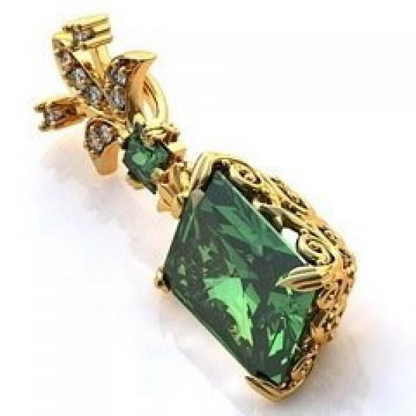 Кулон из желтого золота с бриллиантами и изумрудами