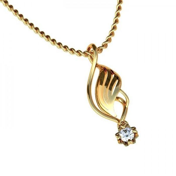 Кулон из желтого золота с бриллиантом