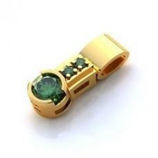 Кулон из желтого золота с изумрудами..