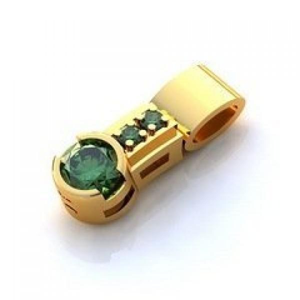 Кулон из желтого золота с изумрудами