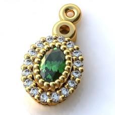Кулон из желтого золота с изумрудом и бриллиантами..