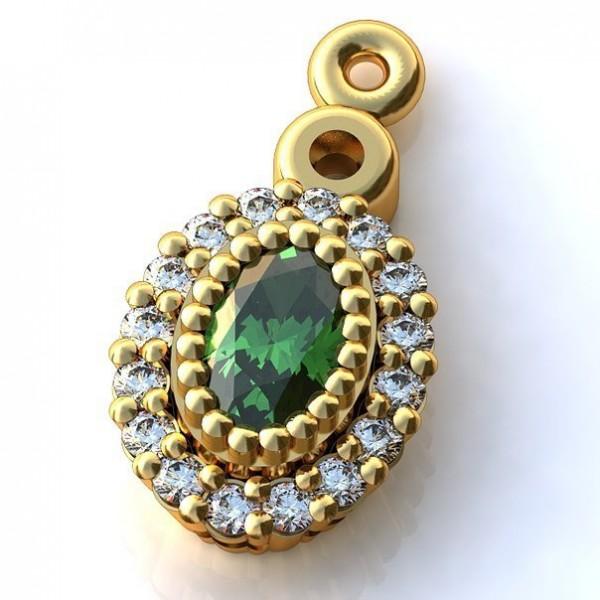 Кулон из желтого золота с изумрудом и бриллиантами