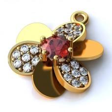 Кулон из желтого золота с рубином и бриллиантами..